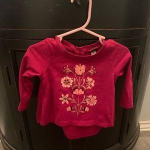 High-low baby shirt, burgundy